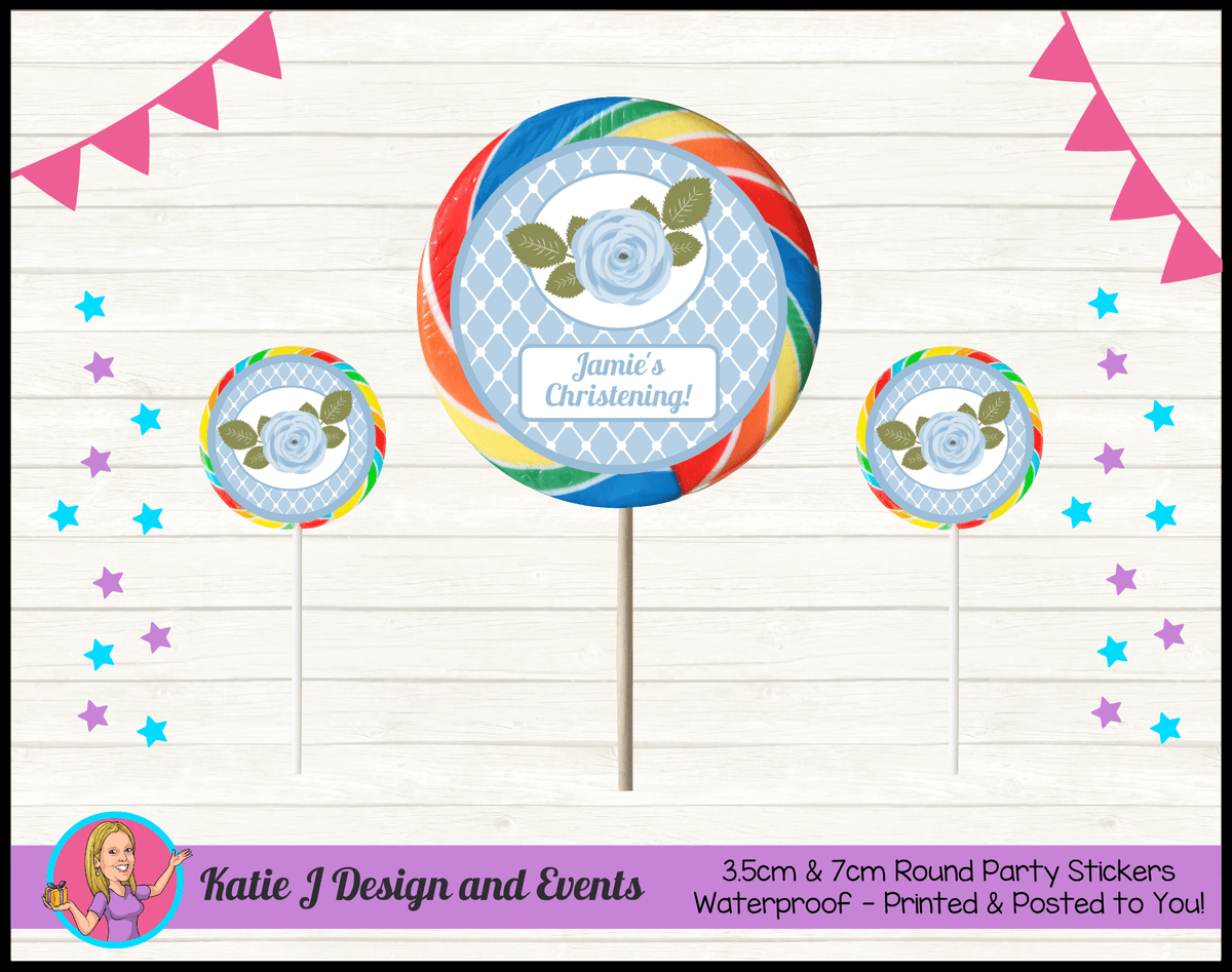 Blue Rose Floral Personalised Christening Round Lollipop Stickers