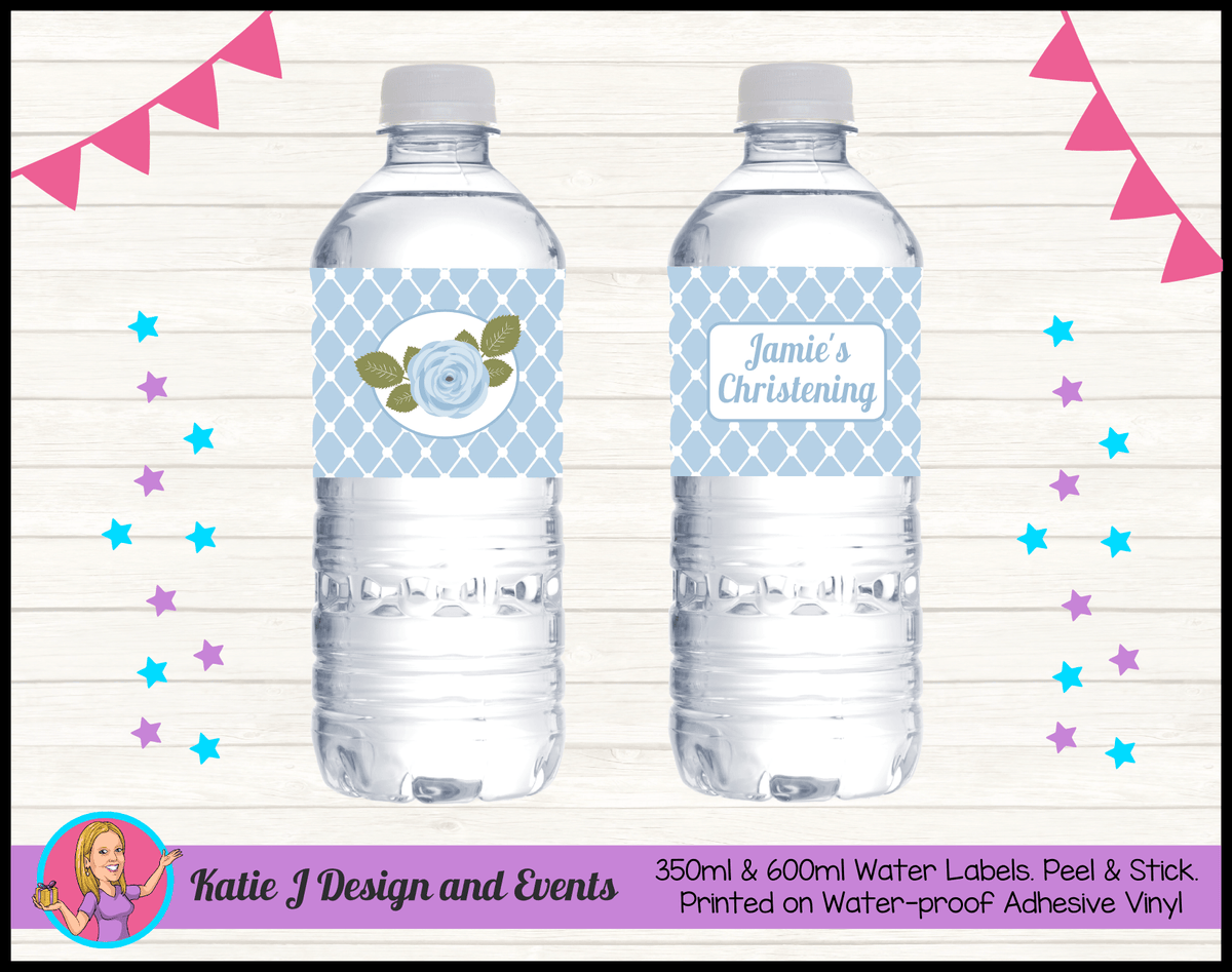 Blue Rose Floral Personalised Christening Water Bottle Labels