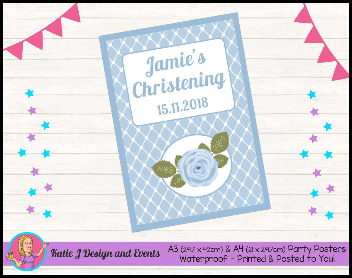 Blue Rose Floral Personalised Christening Posters