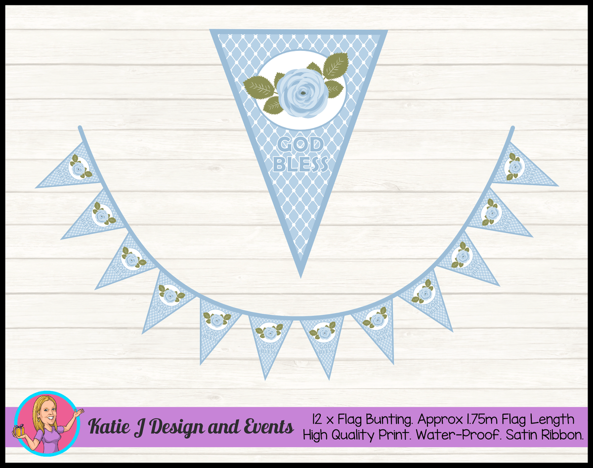 Blue Rose Floral Personalised Christening Flag Bunting