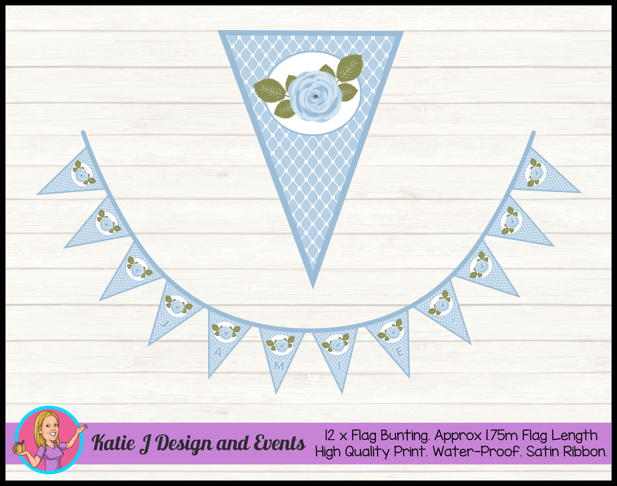 Blue Rose Floral Personalised Christening Flag Bunting Name