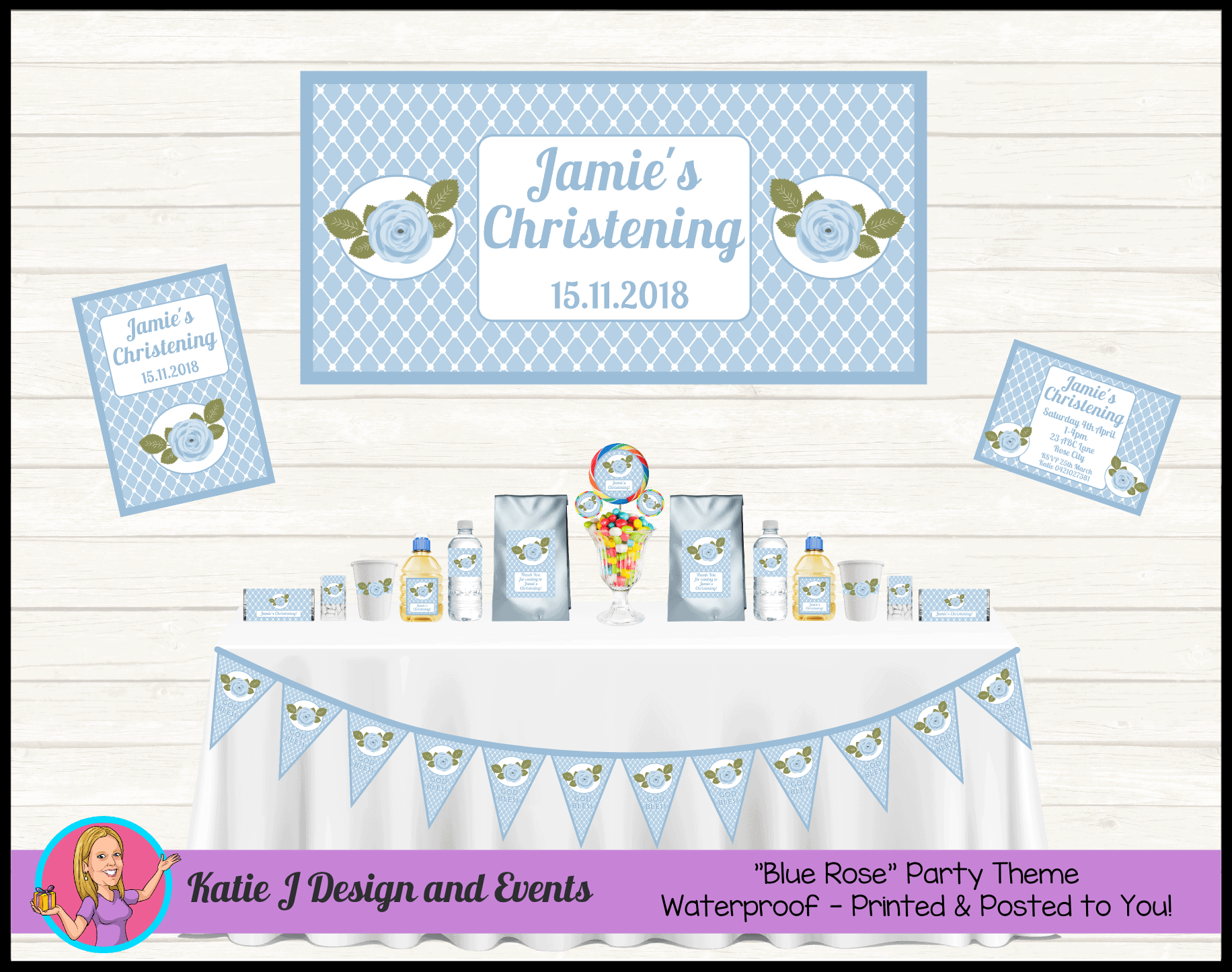 Personalised Blue Rose Boys Floral Christening Decorations Supplies
