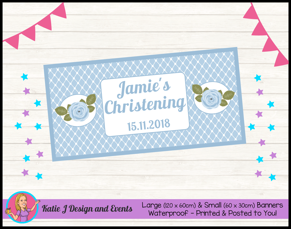 Blue Rose Floral Personalised Christening Banners