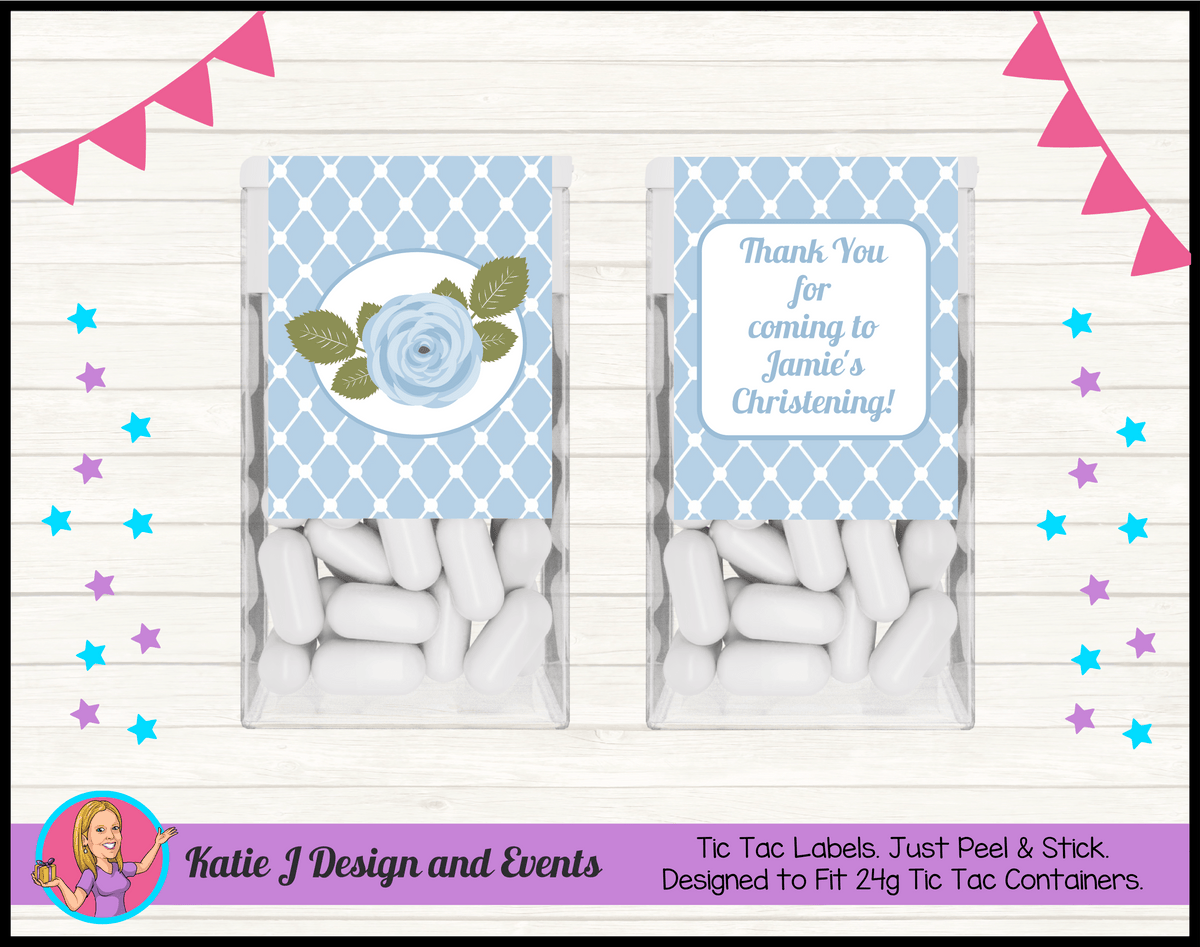 Blue Rose Floral Personalised Christening Tic Tac Mint Labels