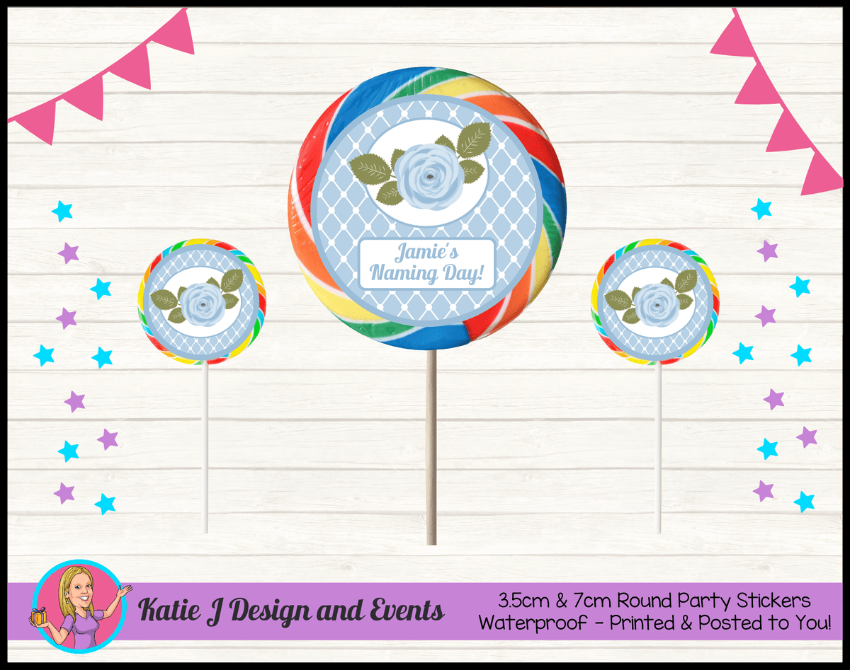 Blue Rose Floral Personalised Naming Day Party Round Lollipop Stickers