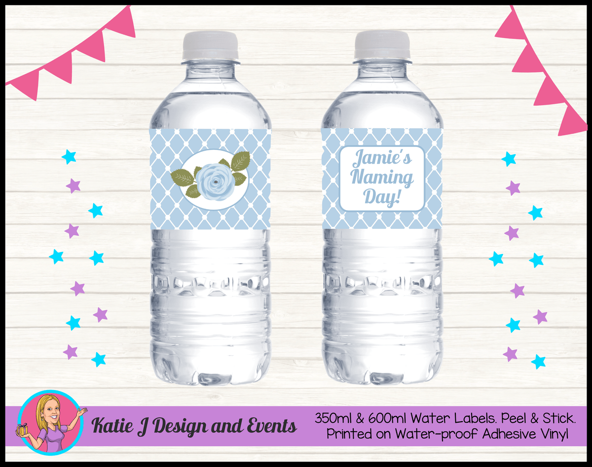 Blue Rose Floral Personalised Naming Day Party Water Bottle Labels