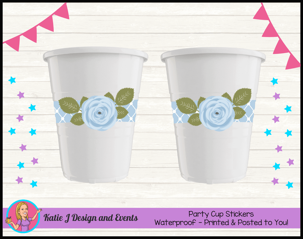 Blue Rose Floral Personalised Naming Day Party Cup Stickers Cups