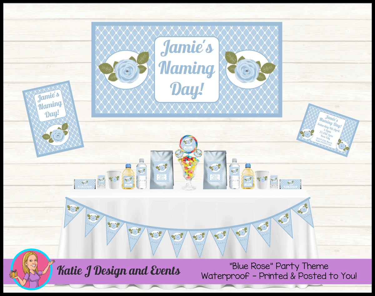 Blue Rose Floral Naming Day Party Packs Decorations Supplies