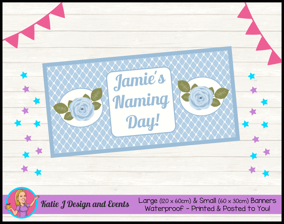 Blue Rose Floral Personalised Naming Day Party Banners
