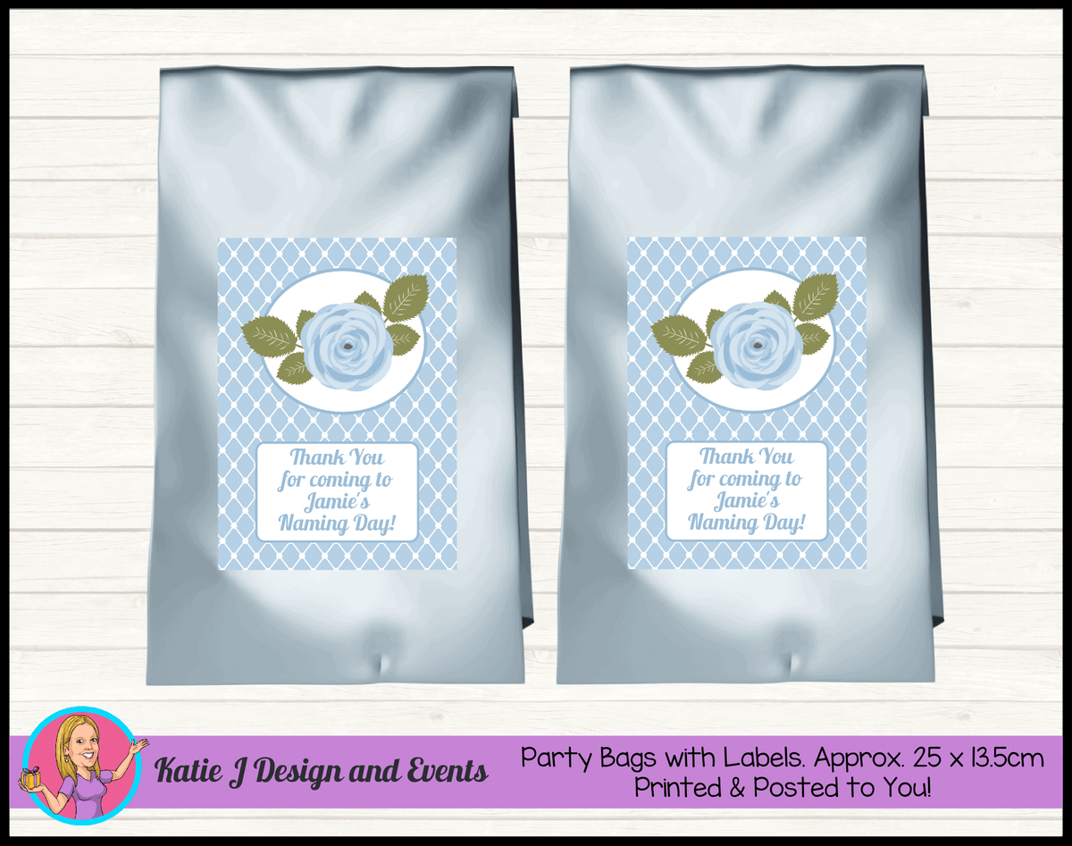 Blue Rose Floral Personalised Naming Day Party Loot Bags