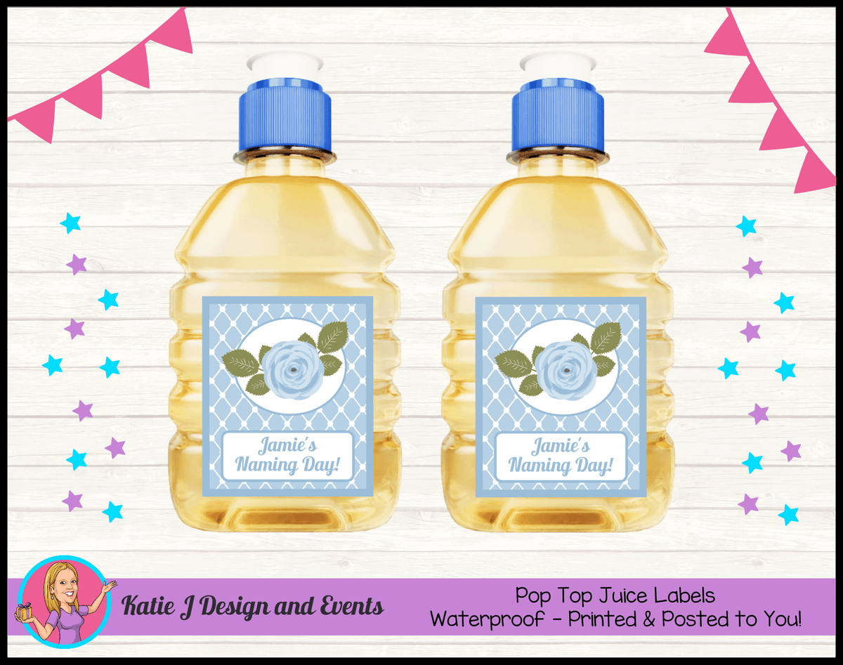 Blue Rose Floral Personalised Naming Day Party Pop Top Juice Labels