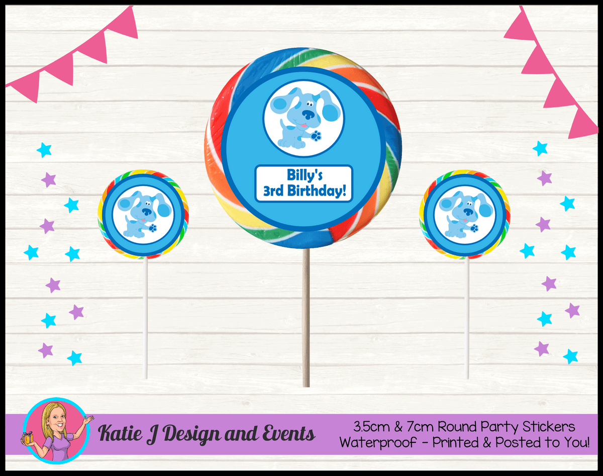 Blue's Clues Personalised Birthday Party Round Lollipop Stickers