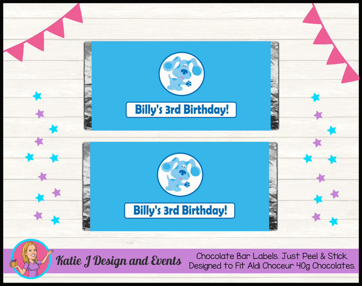 Blue's Clues Personalised Birthday Party Chocolate Labels Wrappers