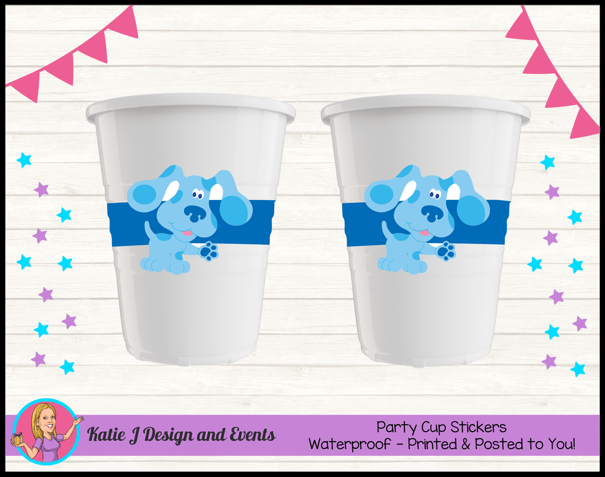 Blue's Clues Personalised Birthday Party Cup Stickers