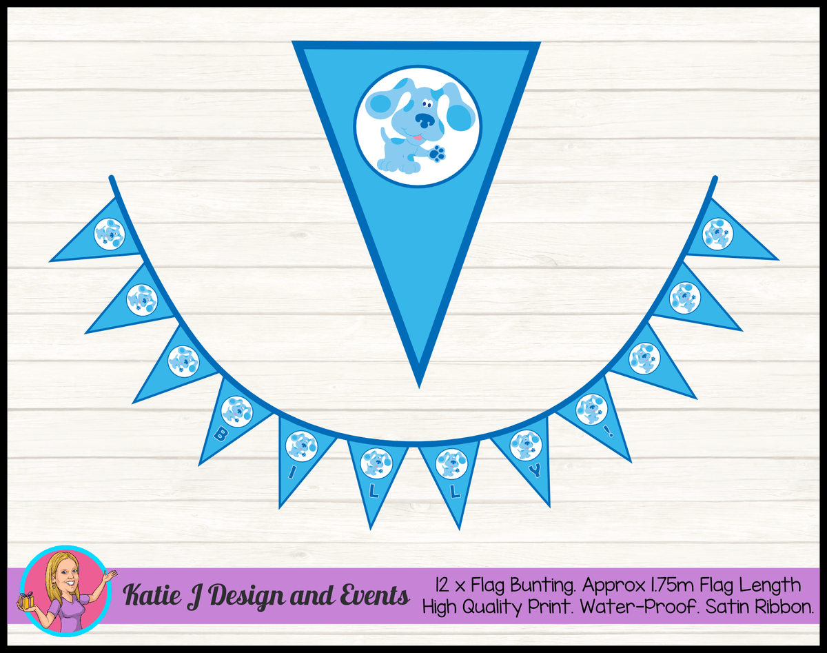 Blue's Clues Personalised Birthday Party Flag Bunting Name