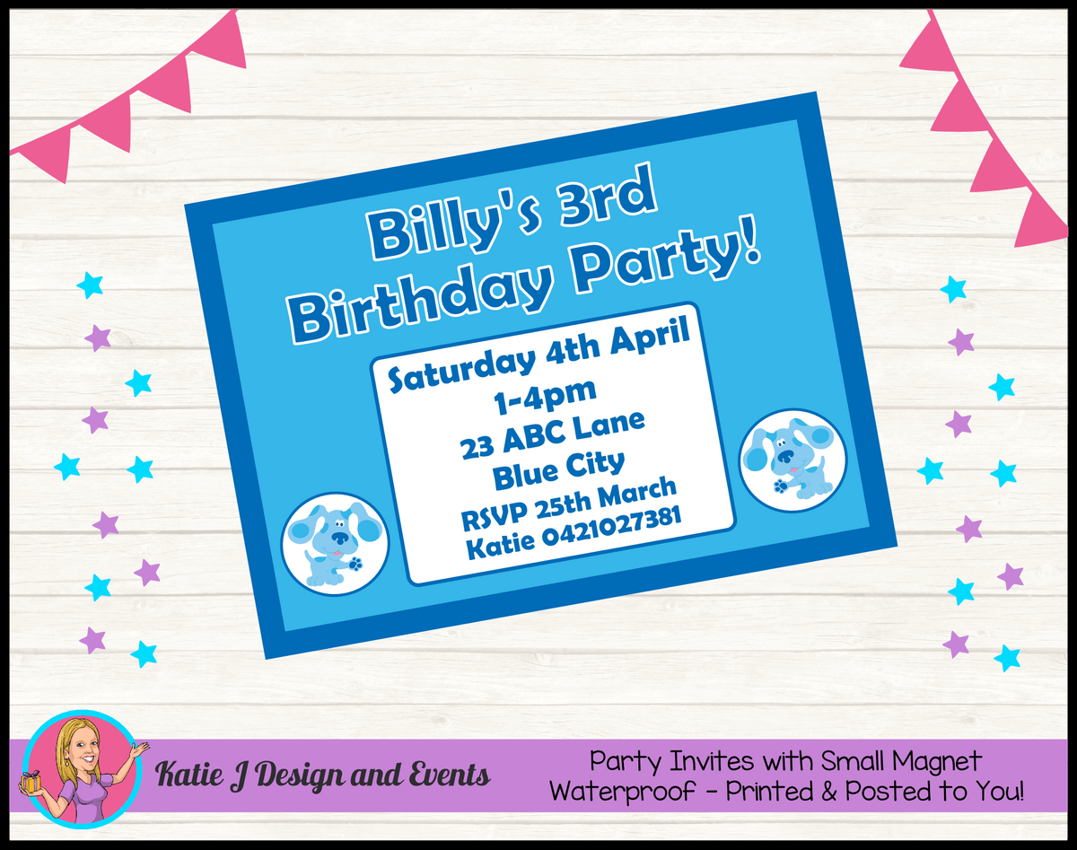 Blue's Clues Personalised Birthday Party Invites Invitations