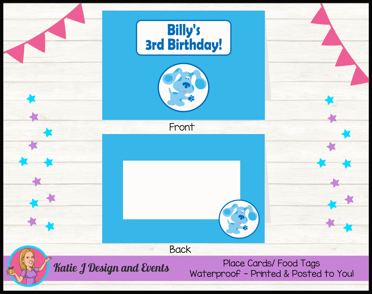 Blue's Clues Personalised Birthday Party Place Cards