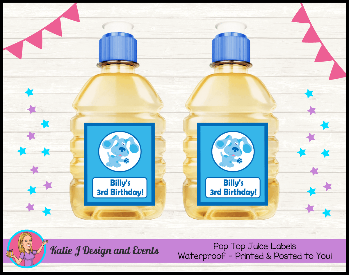 Blue's Clues Personalised Birthday Party Pop Top Juice Labels