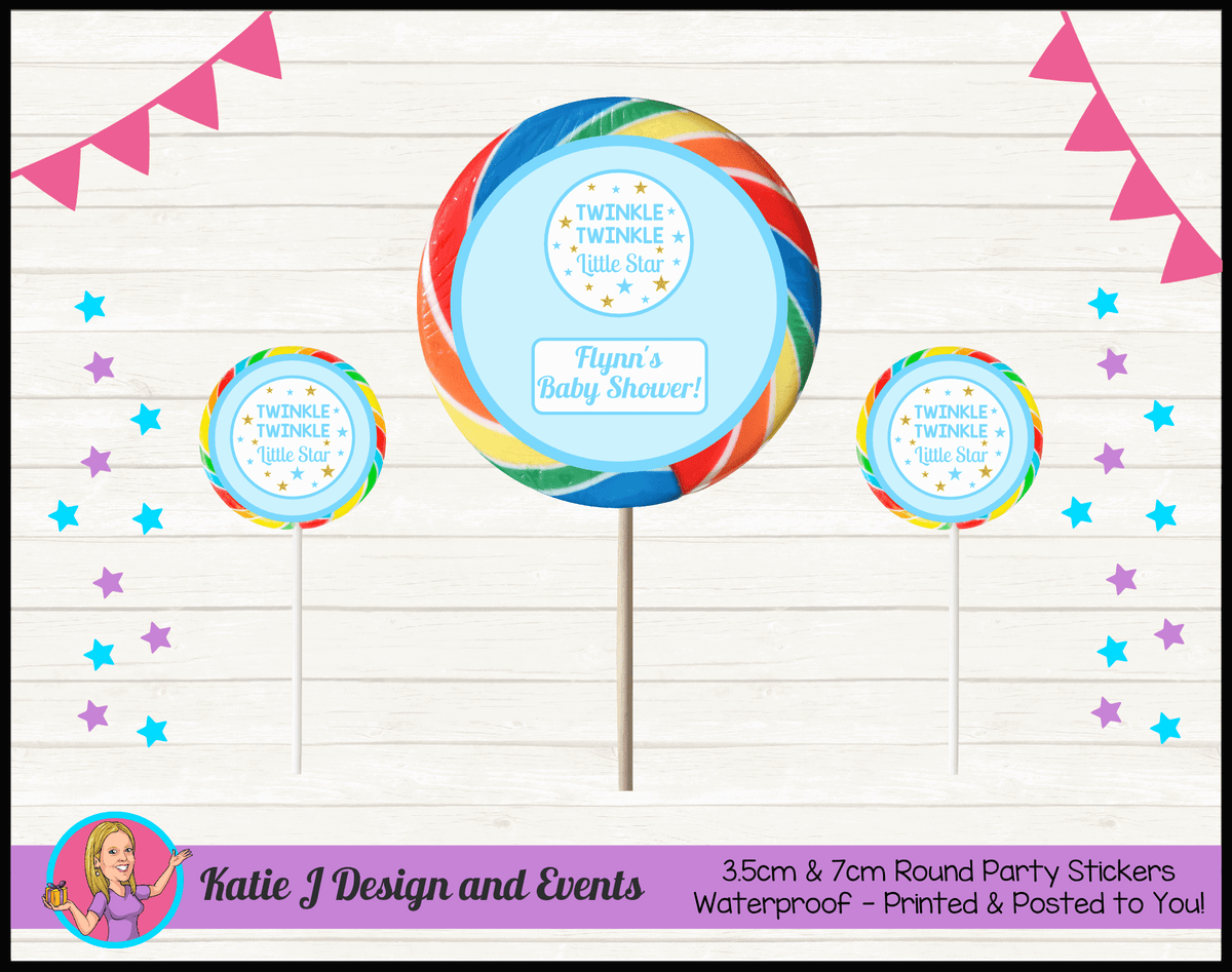 Personalised Boys Twinkle Twinkle Baby Shower Round Lollipop Stickers