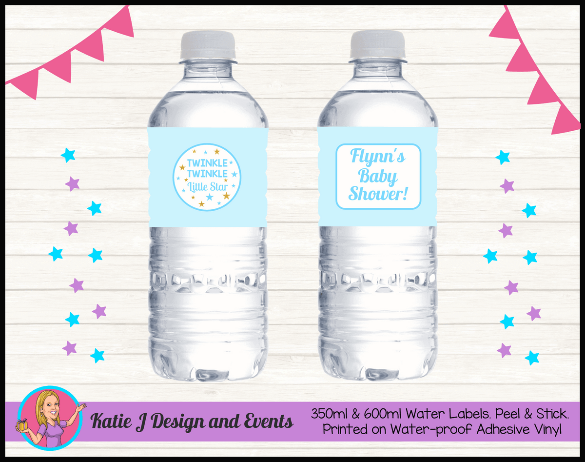 Personalised Boys Twinkle Twinkle Baby Shower Water Labels