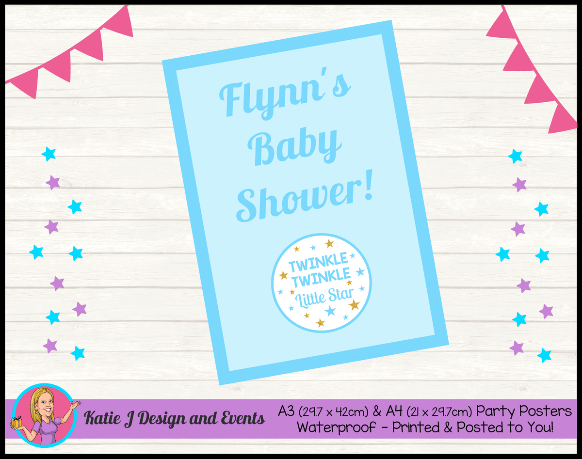 Personalised Boys Twinkle Twinkle Baby Shower Poster