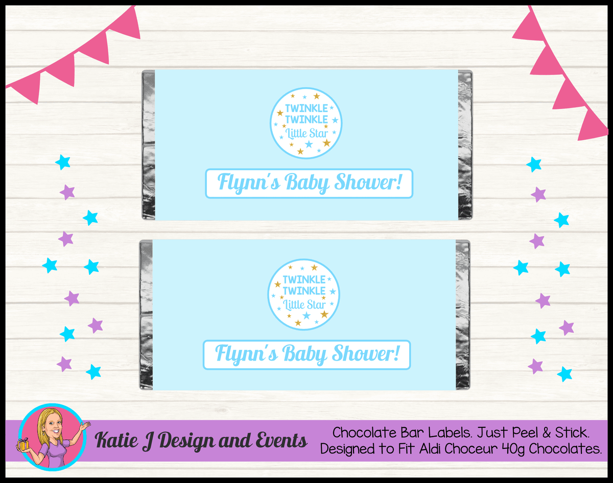 Personalised Boys Twinkle Twinkle Baby Shower Chocolate Labels Wrappers