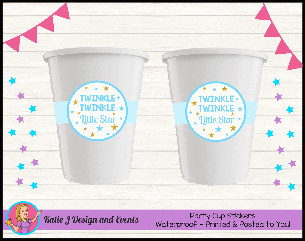 Personalised Boys Twinkle Twinkle Baby Shower Cups Cup Stickers