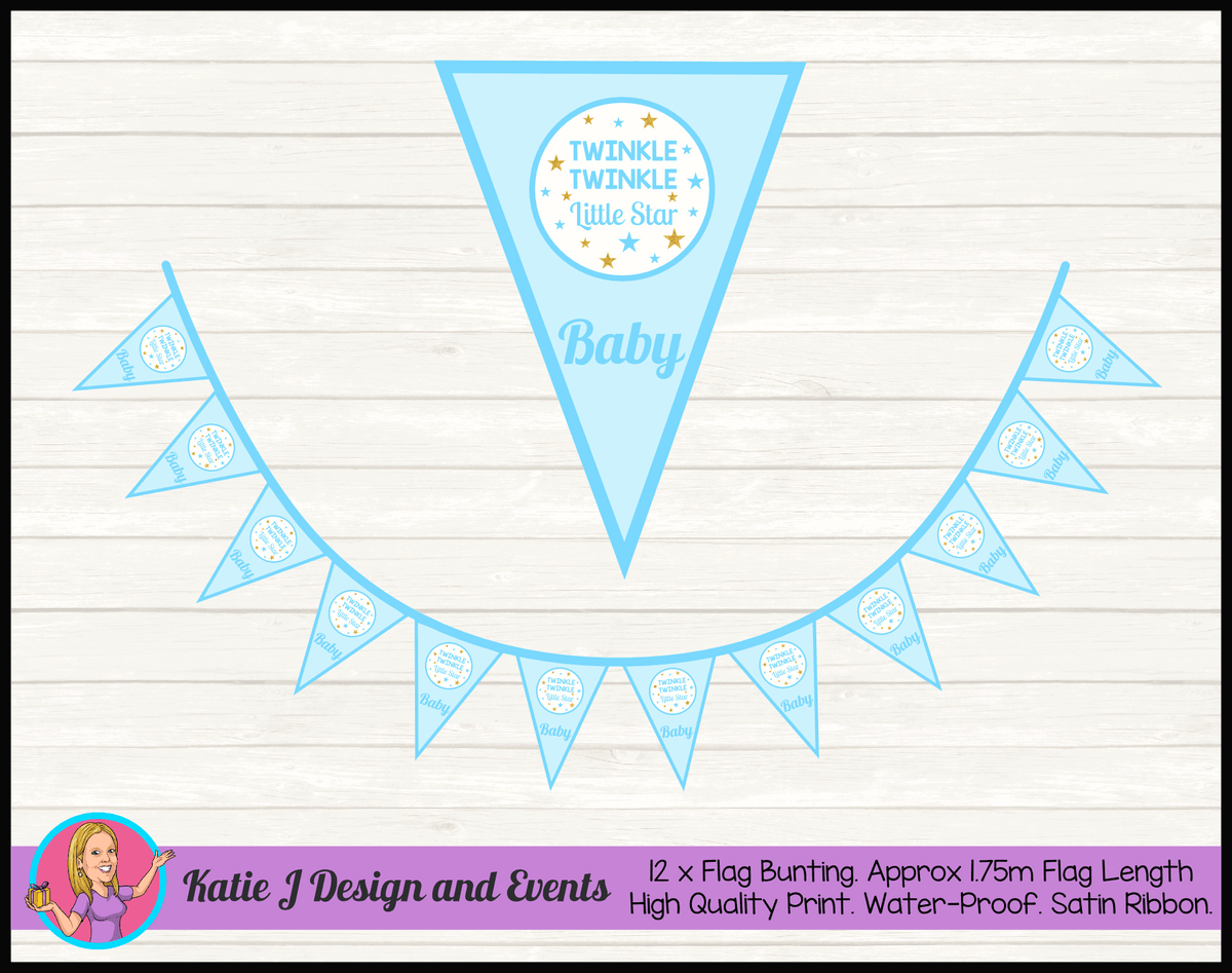 Personalised Boys Twinkle Twinkle Baby Shower Flag Bunting
