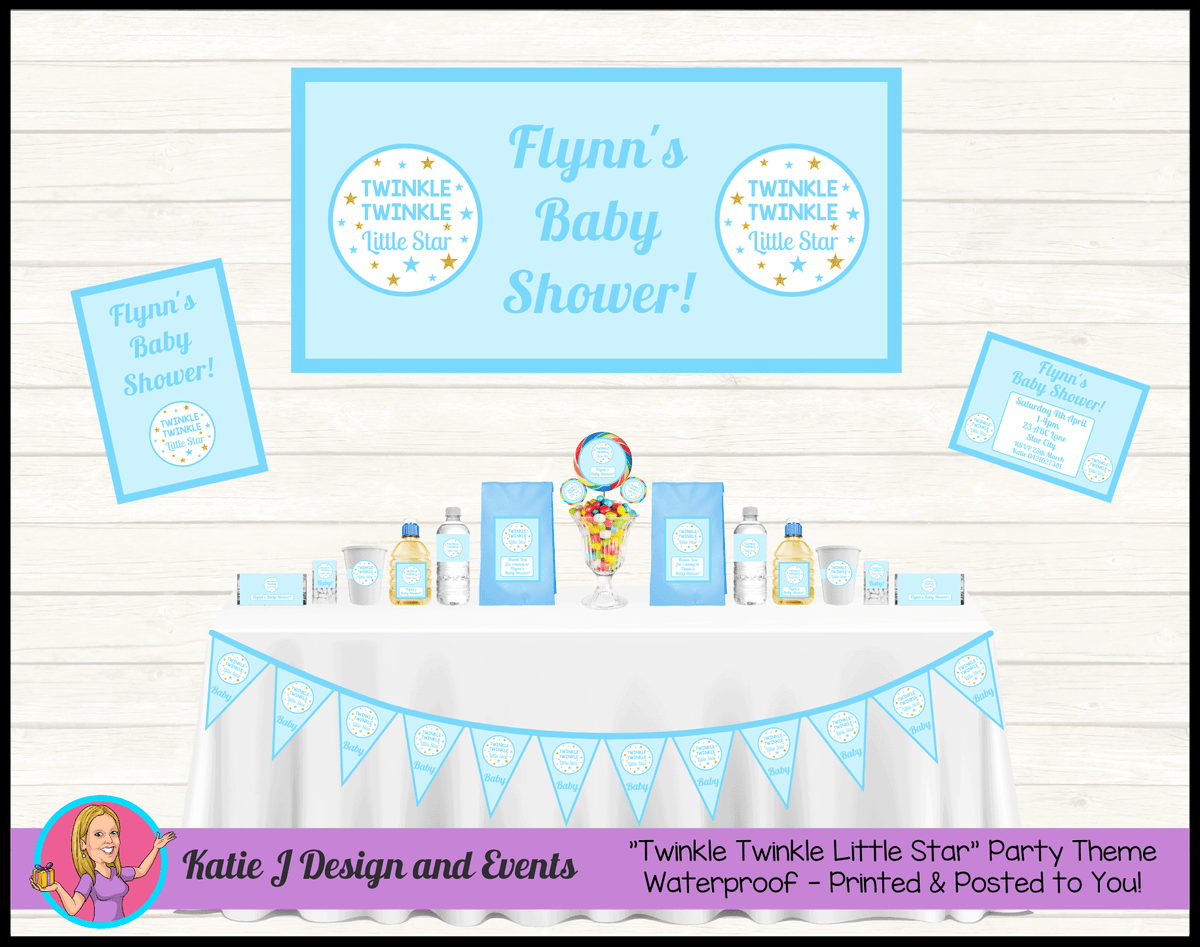 Personalised Boys Twinkle Twinkle Baby Shower Packs Decorations Supplies