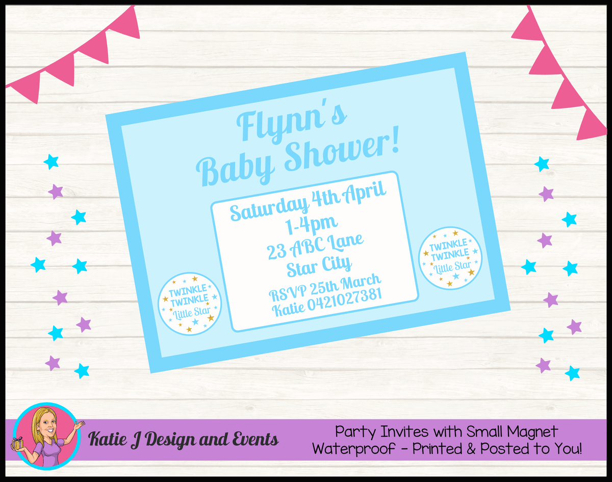 Personalised Boys Twinkle Twinkle Baby Shower Invites