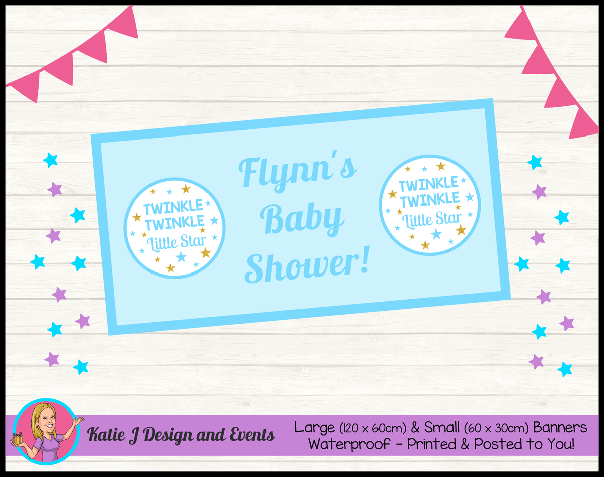 Personalised Boys Twinkle Twinkle Baby Shower Banner