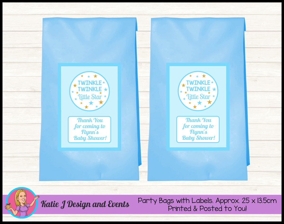 Personalised Boys Twinkle Twinkle Baby Shower Party Bags