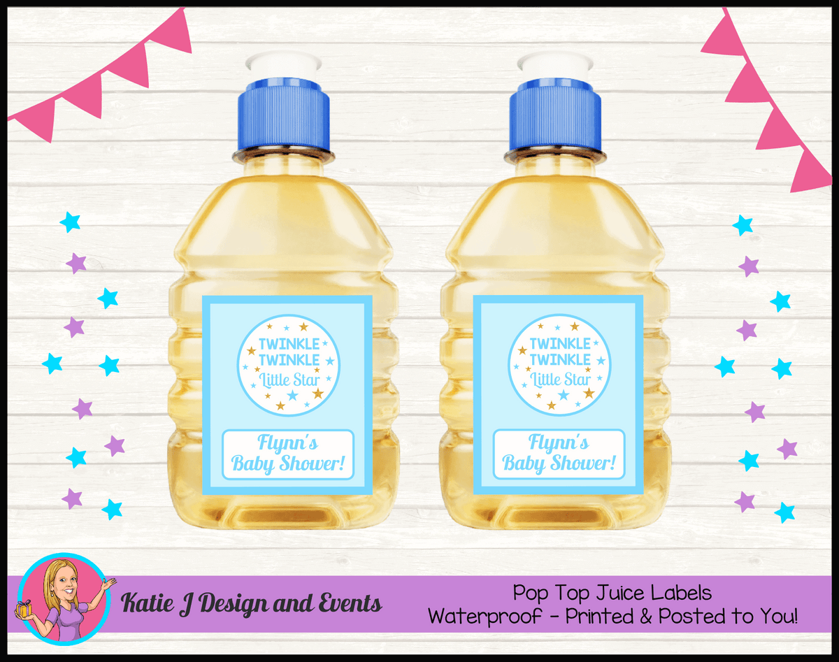 Personalised Boys Twinkle Twinkle Baby Shower Pop Top Juice Labels