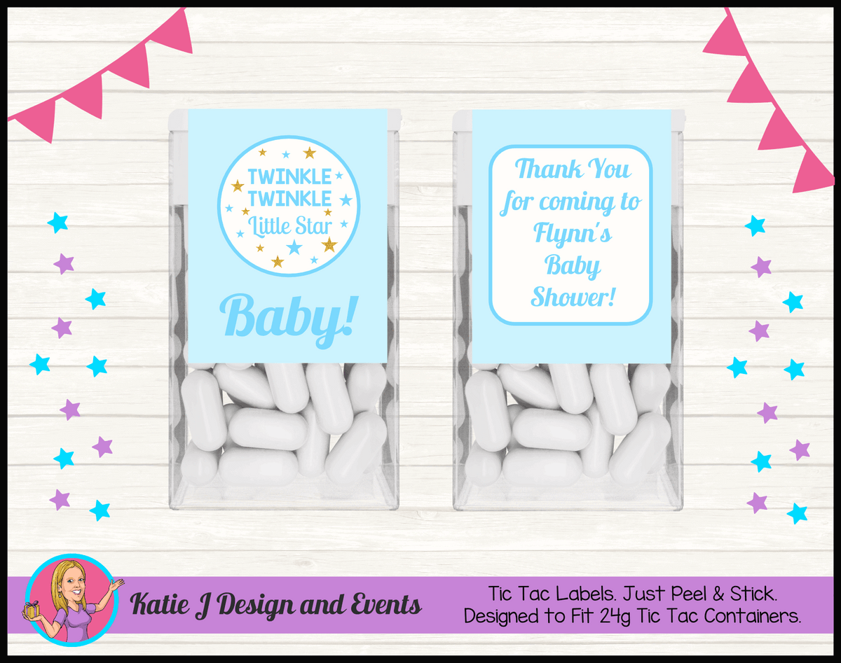 Personalised Boys Twinkle Twinkle Baby Shower Tic Tac Mint Labels
