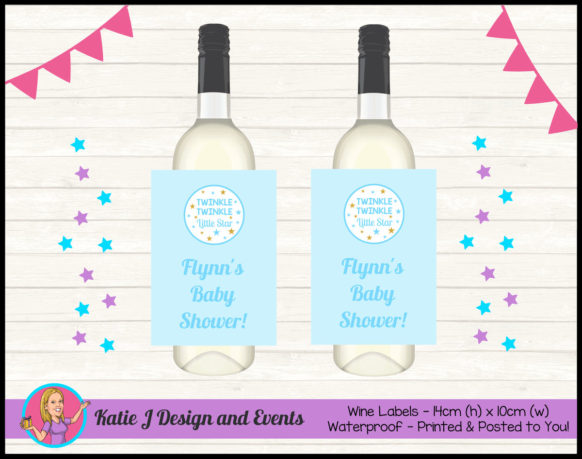 Personalised Boys Twinkle Twinkle Baby Shower Wine Labels