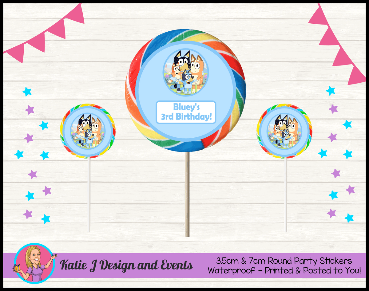Bluey Personalised Birthday Party Round Lollipop Stickers
