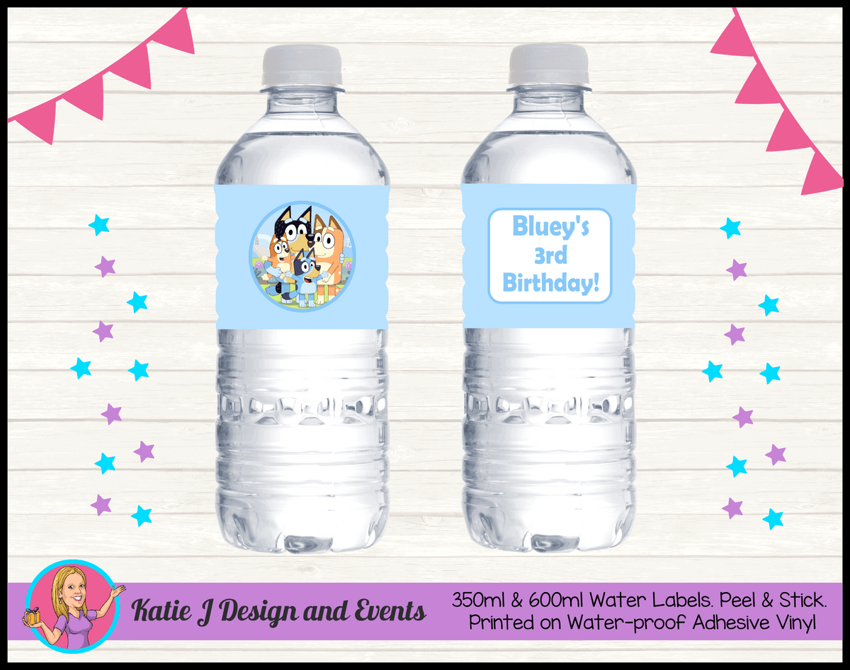 Bluey Personalised Birthday Party Water Bottle Labels