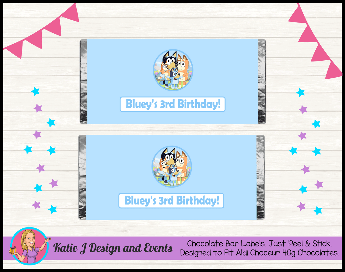 Bluey Personalised Birthday Party Aldi Mini Chocolate Wrappers Labels
