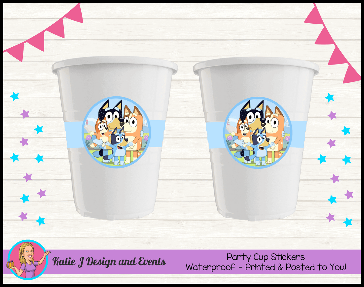 Bluey Personalised Birthday Party Cup Stickers Cups