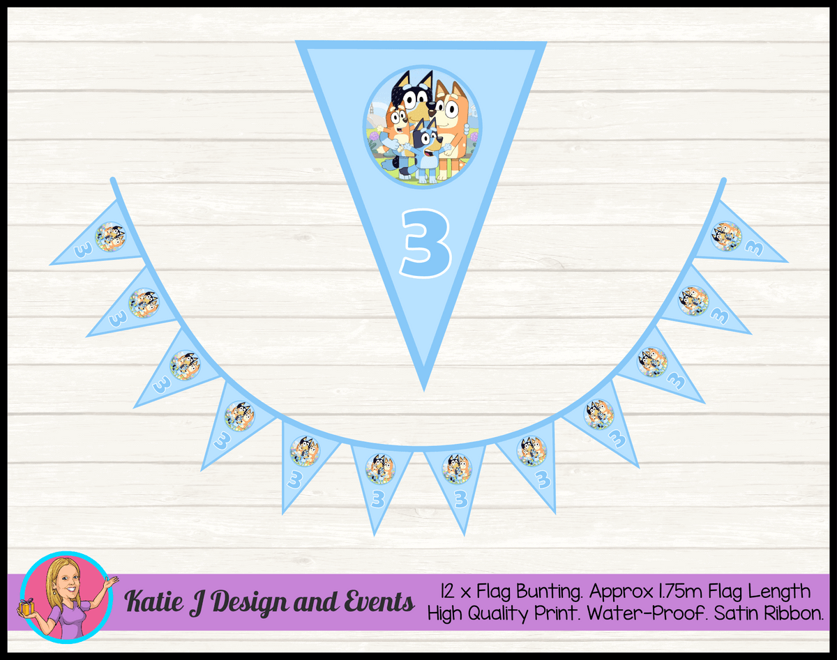 Bluey Personalised Birthday Party Flag Bunting