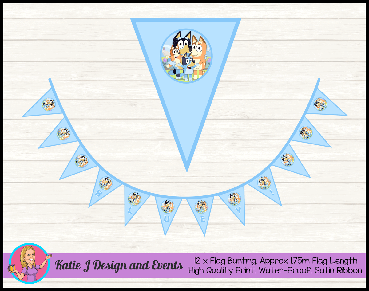 Bluey Personalised Birthday Party Flag Bunting with Name