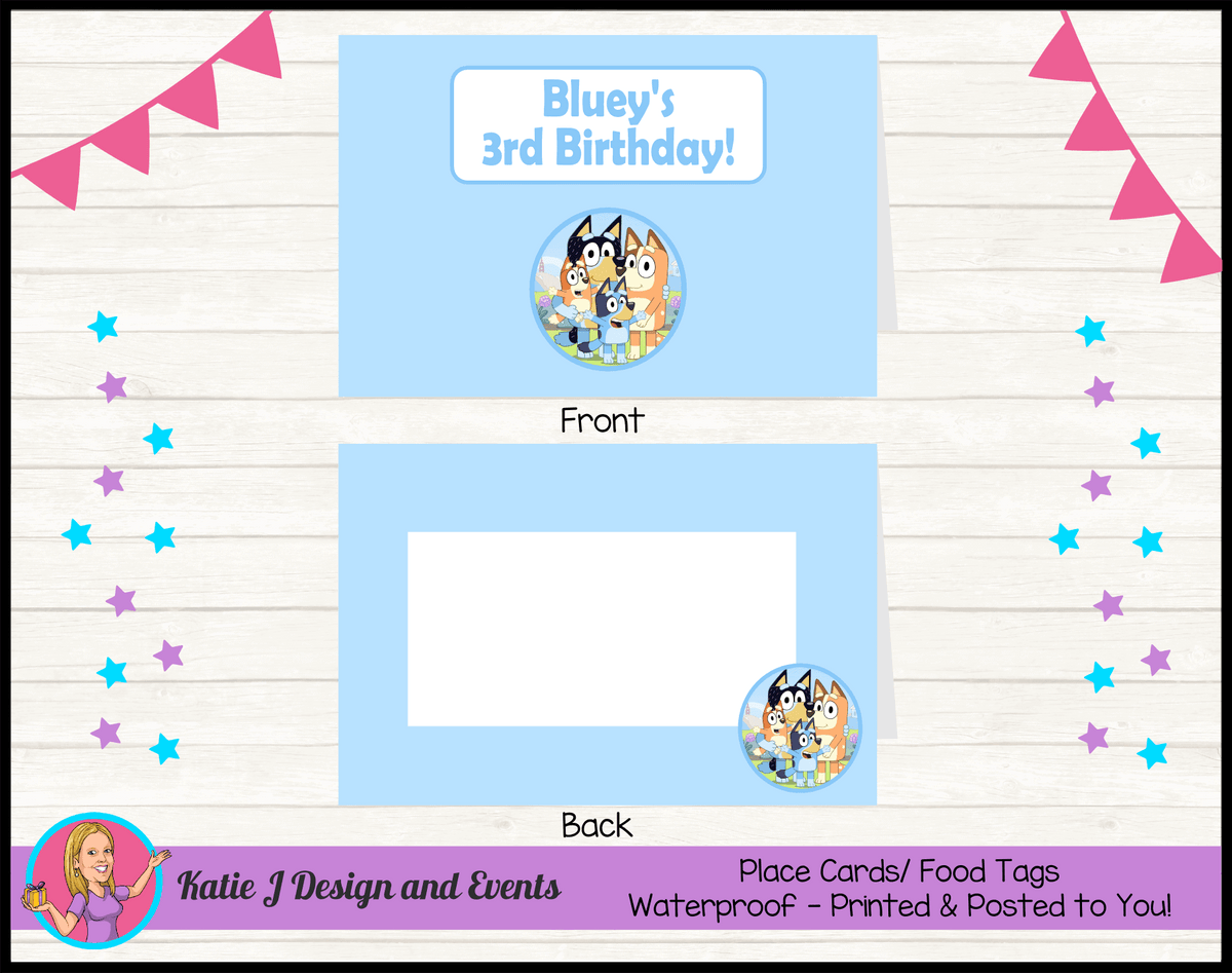 Bluey Personalised Birthday Party Place Cards
