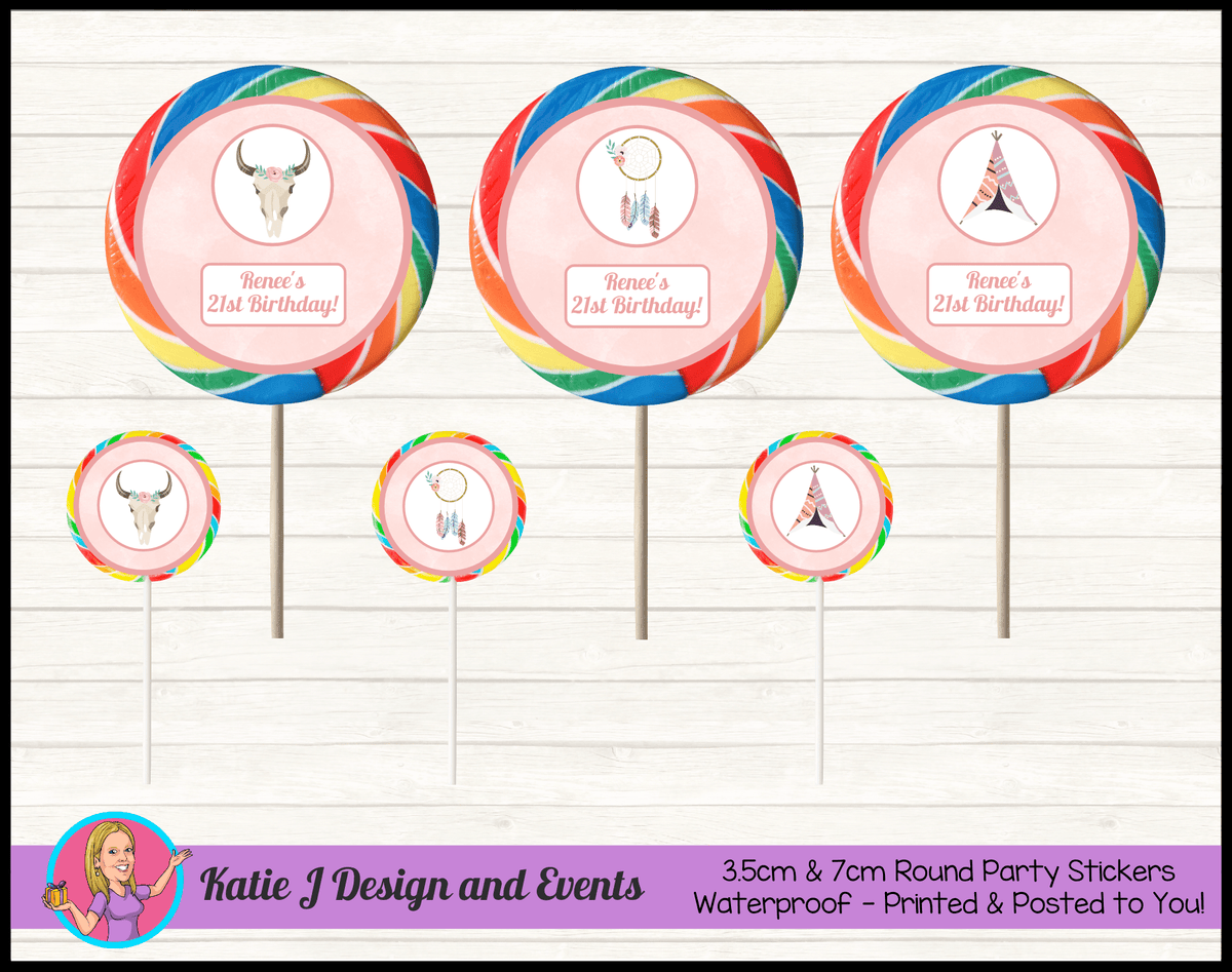 Boho Chic Personalised Birthday Party Round Lollipop Stickers