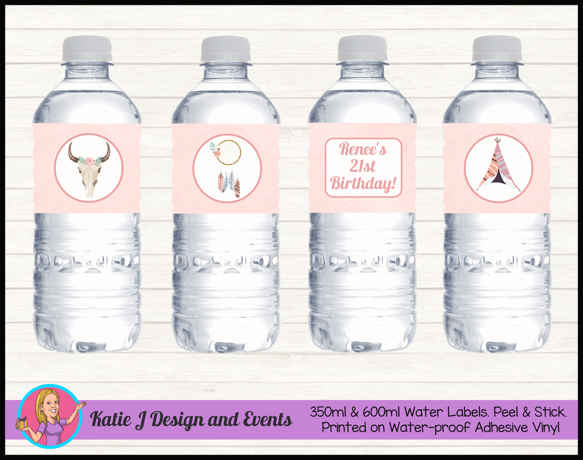 Boho Chic Personalised Birthday Party Water Bottle Labels
