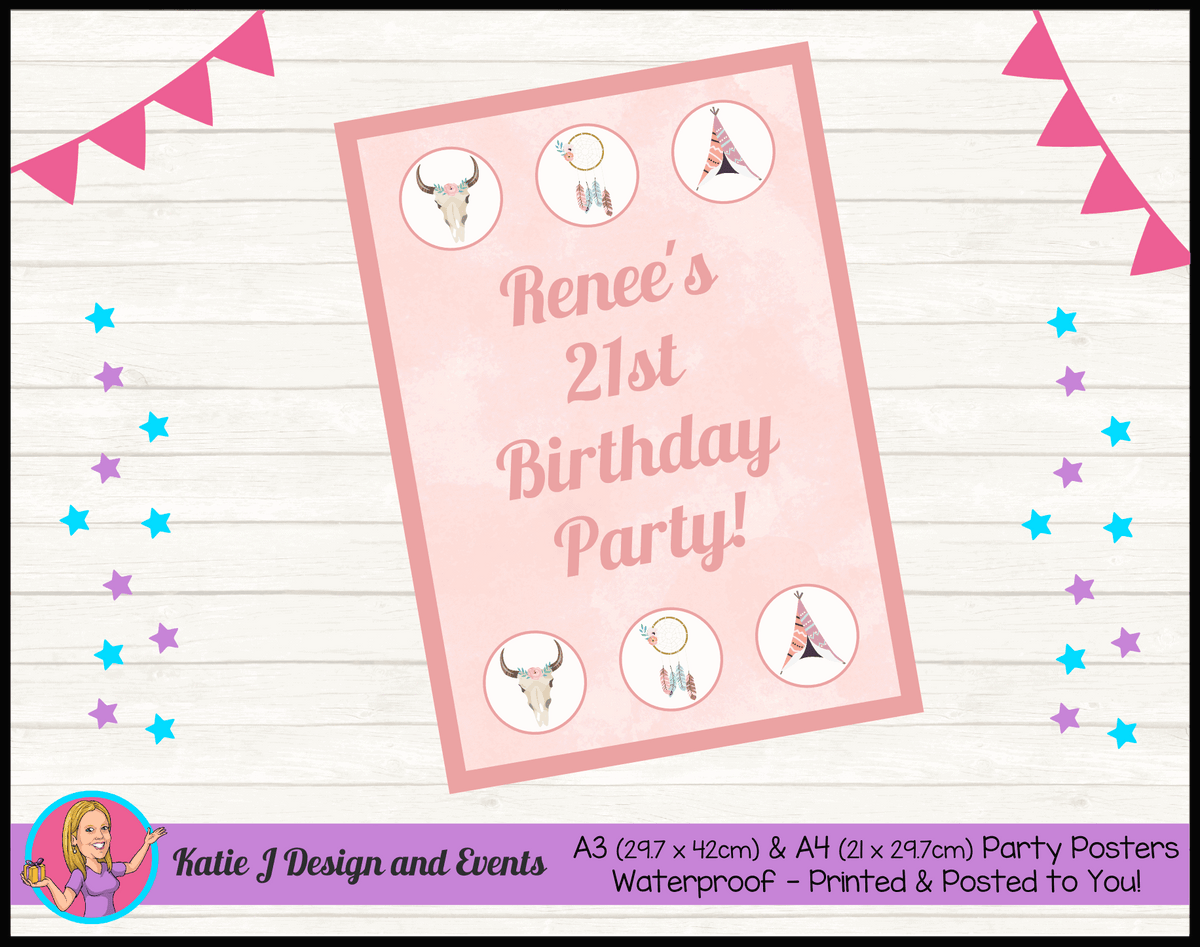 Boho Chic Personalised Birthday Party Poster