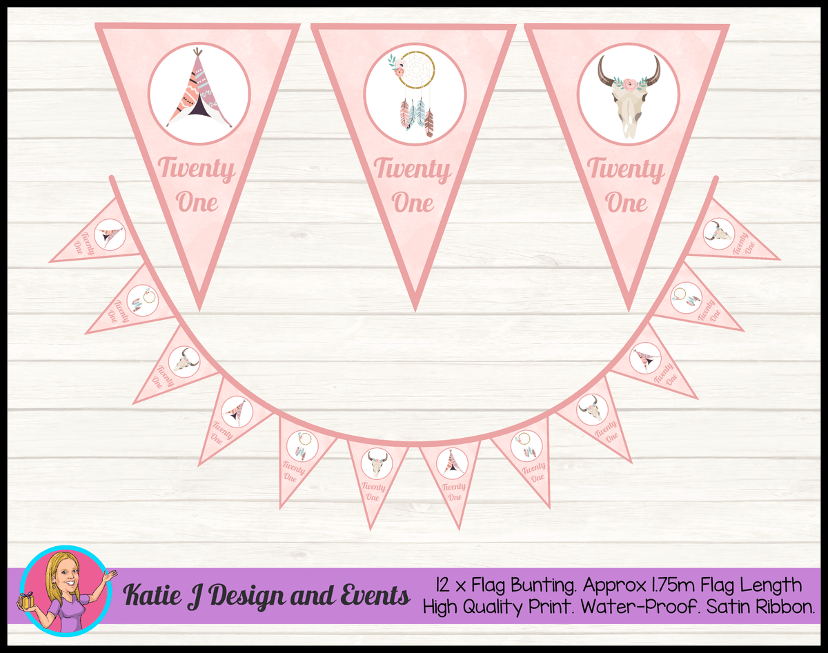 Boho Chic Personalised Birthday Party Flag Bunting