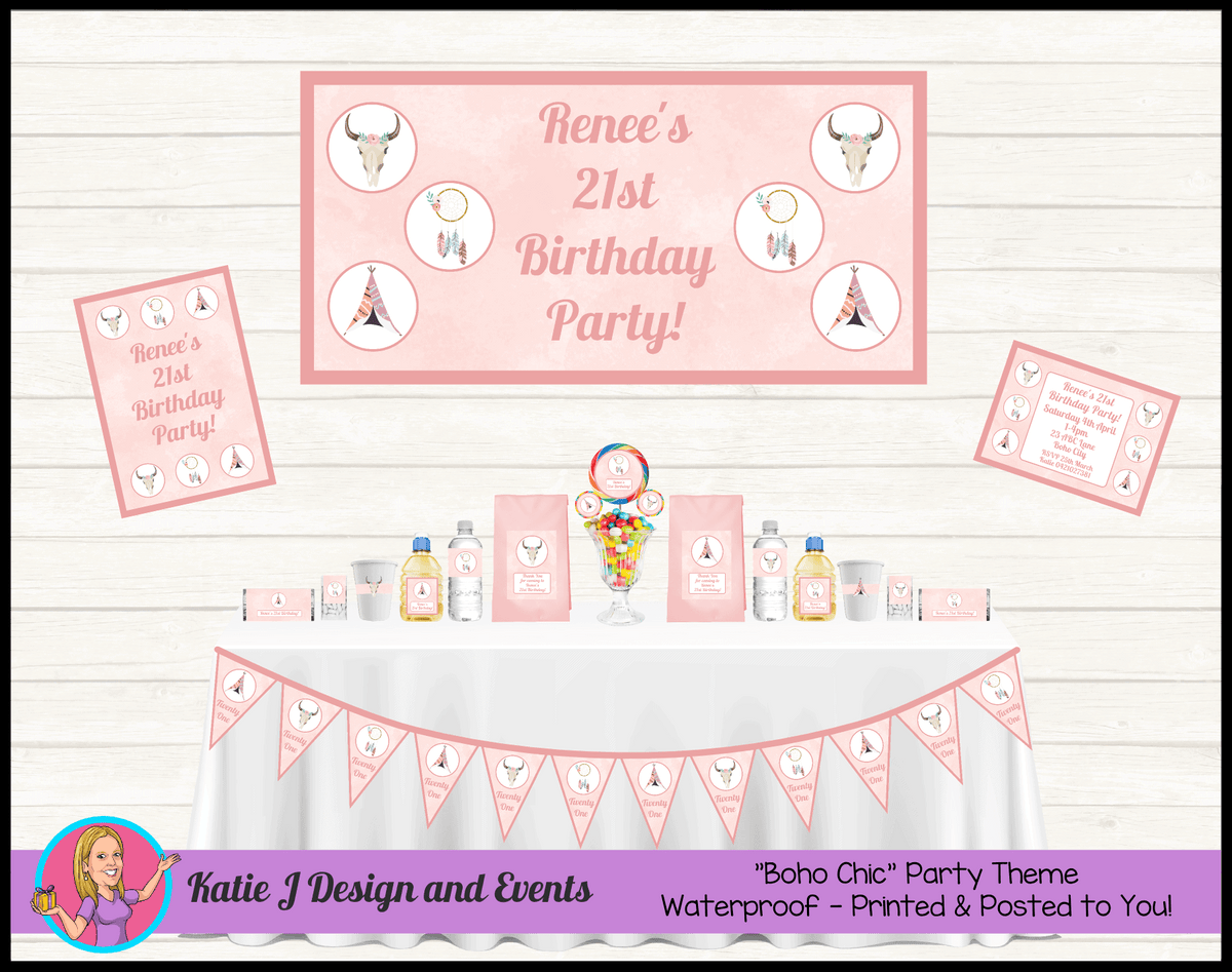 Boho Chic Personalised Party Packs Decorations Supplies