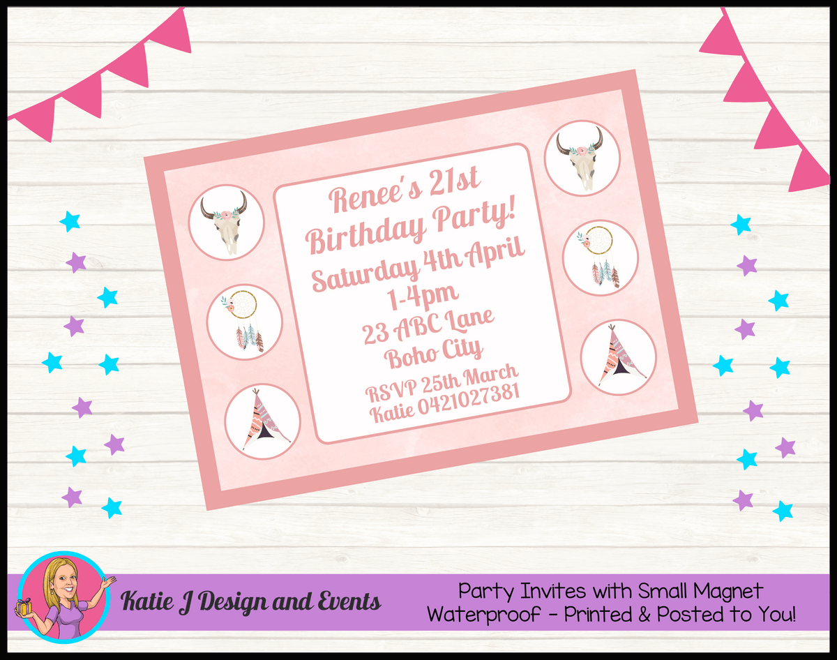Boho Chic Personalised Birthday Party Invites Invitations