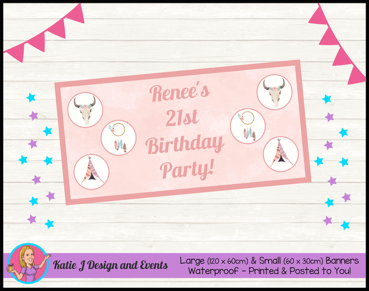 Boho Chic Personalised Birthday Party Banners