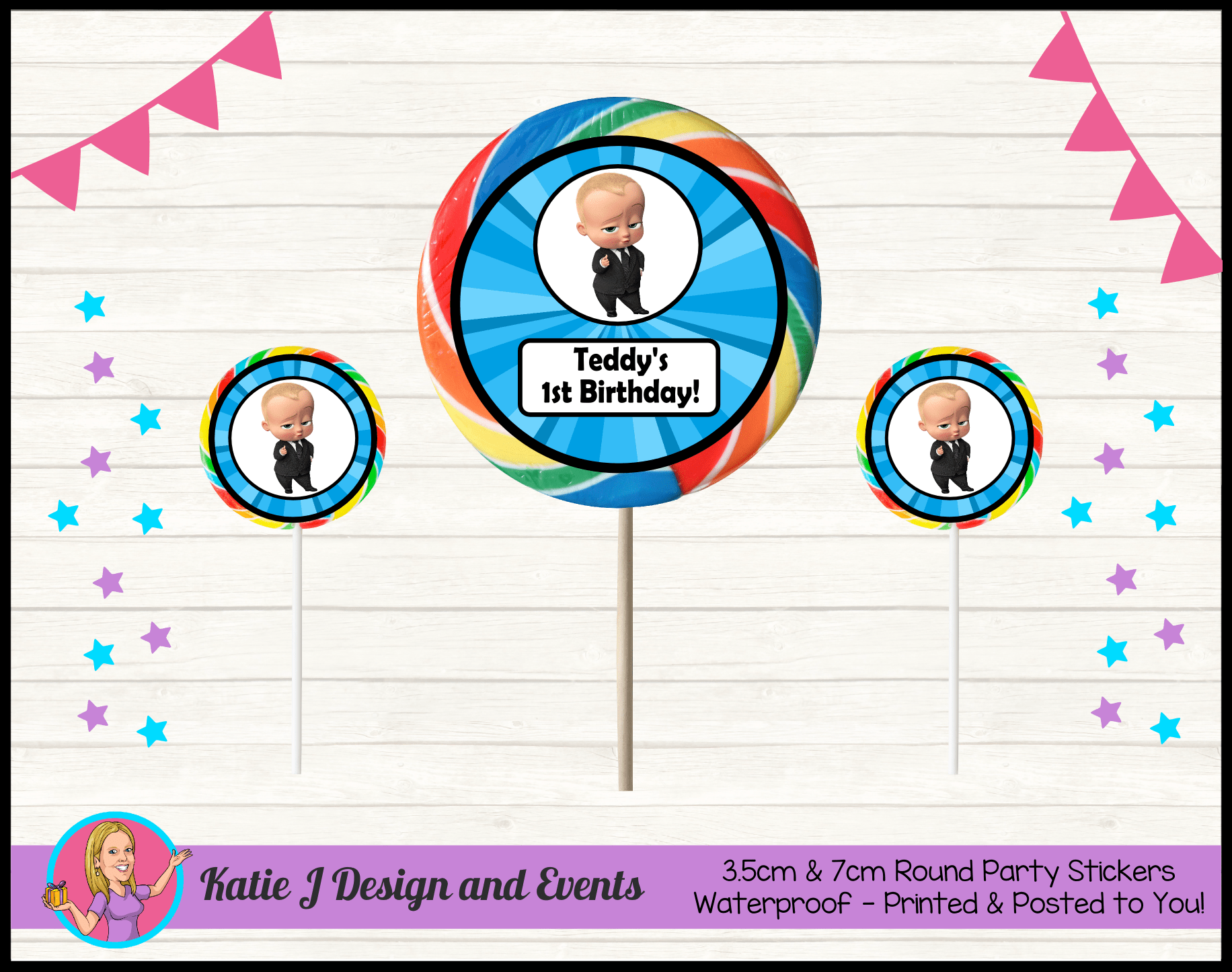 Personalised Boss Baby Birthday Party Decorations Katie J Design And Events